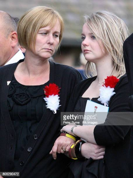 Caroline Annis the wife of Fusilier Simon Annis at her husband's funeral at St John the Baptist Irlam Manchester