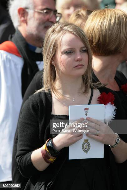 Caroline Annis, the wife of Fusilier Simon Annis, at her husband's funeral at St John the Baptist, Irlam, Manchester.