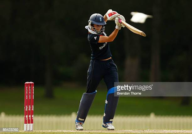Caroline Atkins of England bats during the ICC Women's World Cup 2009 Super Six match between New Zealand and England at Bankstown Oval on March 14,...