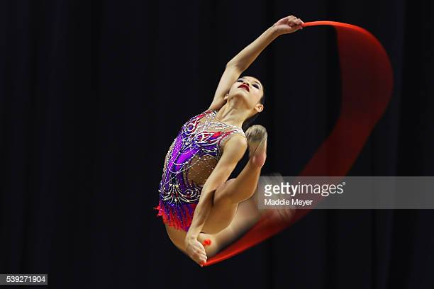 Caroline Balcita competes with the rope during the Junior 2016 USA Gymnastics Championships at the Dunkin' Donuts Center on June 10 2016 in...