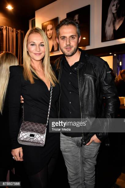 Caroline Beil and her partner Philipp Sattler attend the Apjar Black studio opening on November 17 2017 in Berlin Germany
