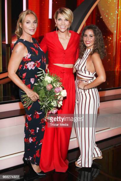Caroline Beil, Anna Maria Zimmermann and Sarah Lombardi during the tv show 'Willkommen bei Carmen Nebel' at Sachsen-Arena on May 5, 2018 in Riesa,...