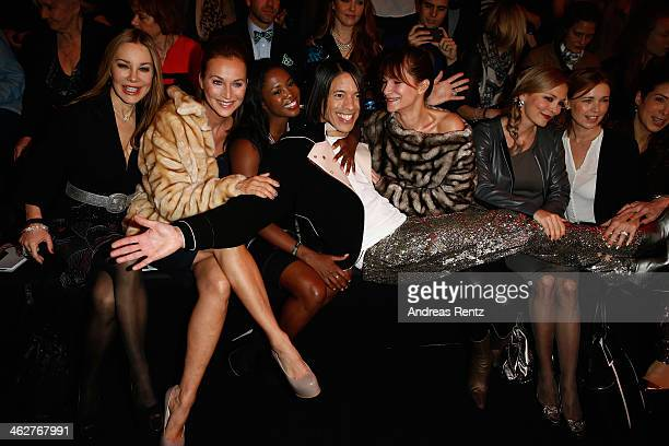 Caroline Beil Motsi Mabuse Jorge Gonzalez Alexandra Kamp Regina Halmich and Tina Ruland attend the Minx by Eva Lutz show during MercedesBenz Fashion...