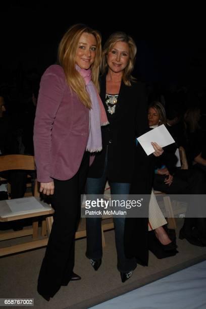 Caroline Berthet and Kathy Hilton attend Badgley Mischka Fashion Show at Promenade on February 9 2004 in New York City