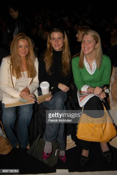 Caroline Berthet Eleanor Lembo and Samantha Gregory attend Michael Kors fashion show at at the tents on February 11 2004 in New York City
