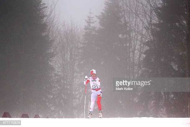 Caroline Bisson of Canada competes in the Women's Biathlon 10km Standing during day four of Sochi 2014 Paralympic Winter Games at Laura Crosscountry...