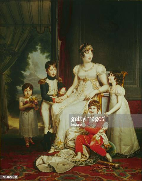 Caroline Bonaparte sister of NapoleonQueen of Naples with her children Canvas from Francois Gerard Musee National du Chateau RueilMalmaison France...