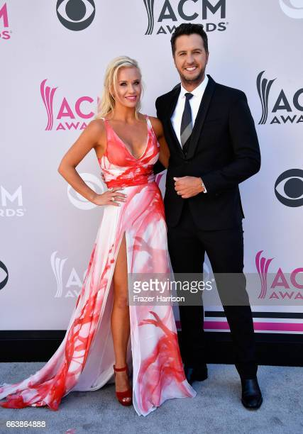 Caroline Boyer and cohost Luke Bryan attend the 52nd Academy Of Country Music Awards at Toshiba Plaza on April 2 2017 in Las Vegas Nevada
