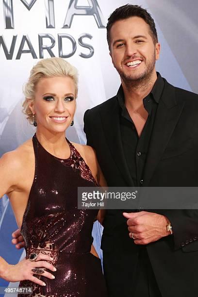 Caroline Boyer and Luke Bryan attend the 49th annual CMA Awards at the Bridgestone Arena on November 4 2015 in Nashville Tennessee