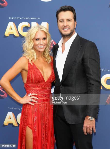 Caroline Boyer and Luke Bryan attend the 53rd Academy of Country Music Awards at MGM Grand Garden Arena on April 15 2018 in Las Vegas Nevada