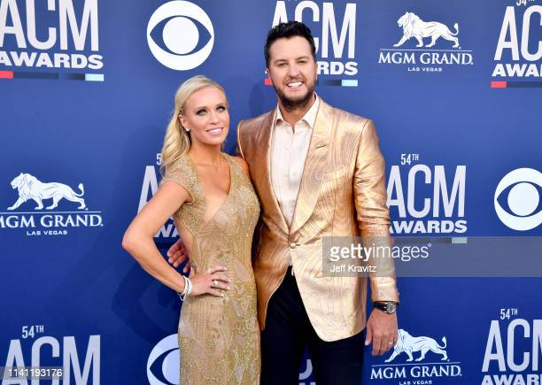 Caroline Boyer and Luke Bryan attend the 54th Academy Of Country Music Awards at MGM Grand Hotel Casino on April 07 2019 in Las Vegas Nevada