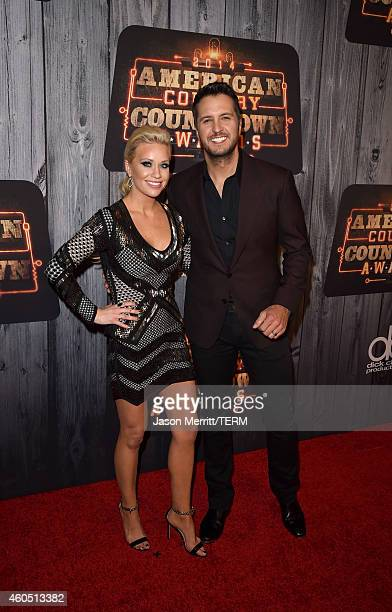 Caroline Boyer and recording artist Luke Bryan attend the 2014 American Country Countdown Awards at Music City Center on December 15 2014 in...