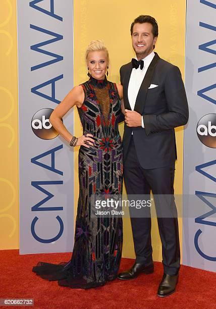 Caroline Boyer and singersongwriter Luke Bryan attends the 50th annual CMA Awards at the Bridgestone Arena on November 2 2016 in Nashville Tennessee