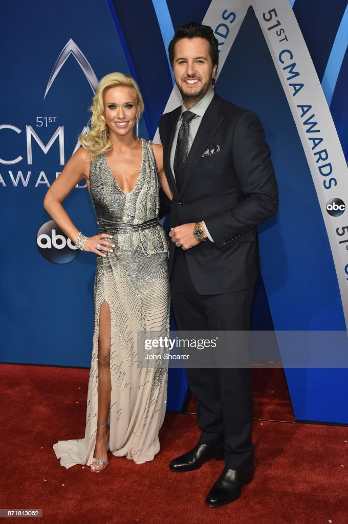 Caroline Boyer and singer-songwriter Luke Bryan attends the 51st annual CMA Awards at the Bridgestone Arena on November 8, 2017 in Nashville, Tennessee.
