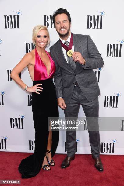 Caroline Boyer Bryan and singersongwriter Luke Bryan attend the 65th Annual BMI Country awards on November 7 2017 in Nashville Tennessee