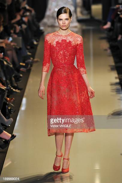 Caroline Brasch Nielsen walks the runway duiring the Elie Saab Spring/Summer 2013 HauteCouture show as part of Paris Fashion Week at Pavillon Cambon...