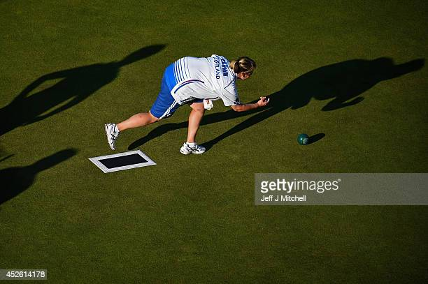 Caroline Brown of Scotland competes in the womans singles at Kelvingrove Lawn Bowls Centre during day one of the Glasgow 2014 Commonwealth Games on...