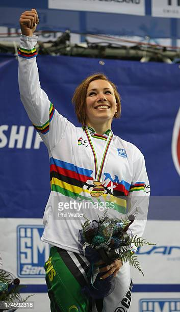 Caroline Buchanan of Australia celebrates winning the Womens Elite Final during day five of the UCI BMX World Championships at Vector Arena on July...