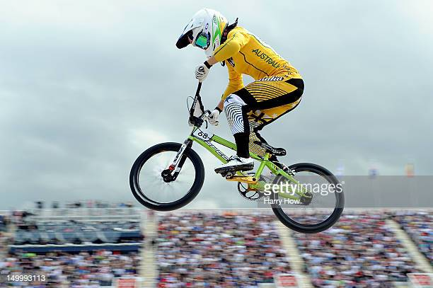 Caroline Buchanan of Australia competes during the Women's BMX Cycling on Day 12 of the London 2012 Olympic Games at BMX Track on August 8, 2012 in...