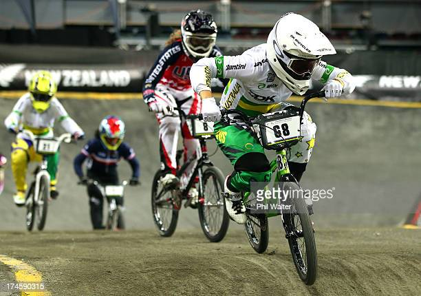 Caroline Buchanan of Australia on her way to winning the Womens Elite Final during day five of the UCI BMX World Championships at Vector Arena on...