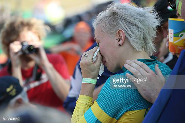 Caroline Buchanan of Australia reacts after crashing out during the Women's Semi Finals during day 14 at Olympic BMX Centre on August 19 2016 in Rio...