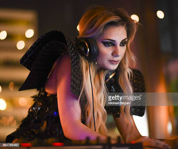 Caroline Burt performs at Caroline Burt DJs At Victoria Fuller's The Beauty Code Art Show at The Redbury Hotel on February 25 2015 in Hollywood...