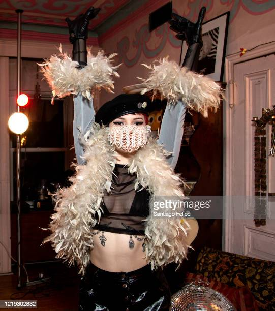 Caroline Caldwell poses for photos while hosting Susanne Bartsch's 'ONTOP' ONLINE via ZOOM on April 16 2020 in New York City