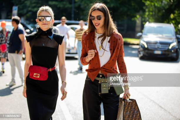 Caroline Caro Daur is seen wearing black dress red bag outside Fendi during the Milan Men's Fashion Week Spring/Summer 2020 on June 17 2019 in Milan...
