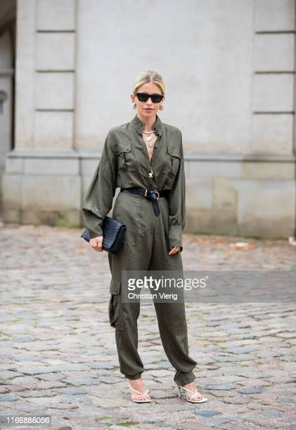 "Caroline ""Caro"" Daur is seen wearing green belted overall, black bag outside Lala Berlin during Copenhagen Fashion Week Spring/Summer 2020 on August..."