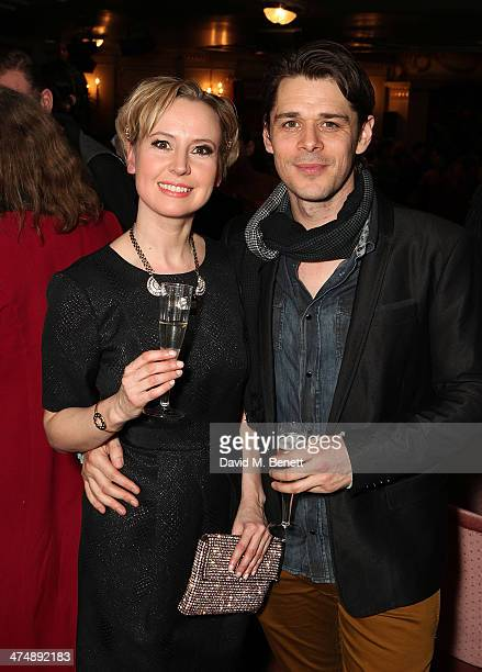 Caroline Carver and Kenny Doughty attend an after party inside the Noel Coward Theatre following the press night performance of The Full Monty on...