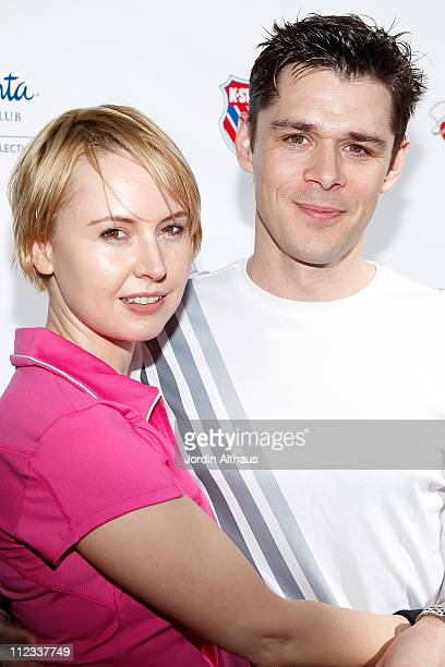 Caroline Carver and Kenny Doughty attend the 6th Annual KSwiss Desert Smash Day 1 at La Quinta Resort and Club on March 9 2010 in La Quinta California