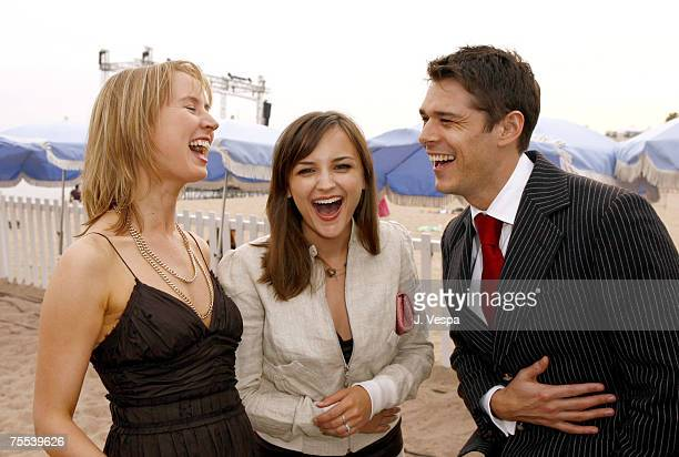 Caroline Carver Rachael Leigh Cook and Kenny Doughty at the Le Plage Goeland in Cannes France
