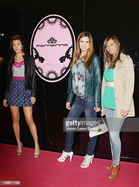 Caroline Cecere Thais Souza Wiggers Ilaria Natali attend the Fornarina Sportglam HikeUp Launch on March 6 2011 in Milan Italy