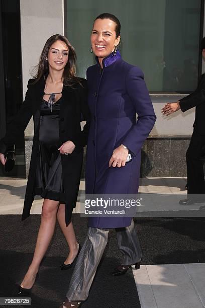 Caroline Celico and Roberta Armani attend the Giorgio Armani fashion show as part of Milan Fashion Week Autumn/Winter 2008/09 on February 18 2008 in...