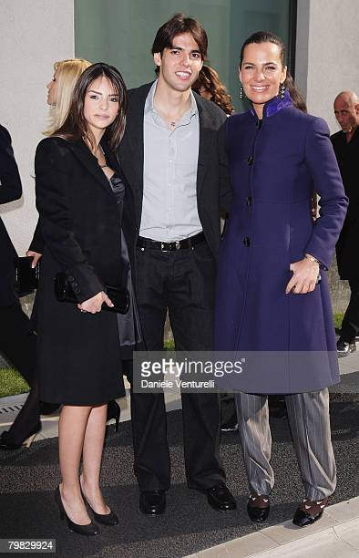 Caroline Celico Kaka and Roberta Armani attend the Giorgio Armani fashion show as part of Milan Fashion Week Autumn/Winter 2008/09 on February 18...