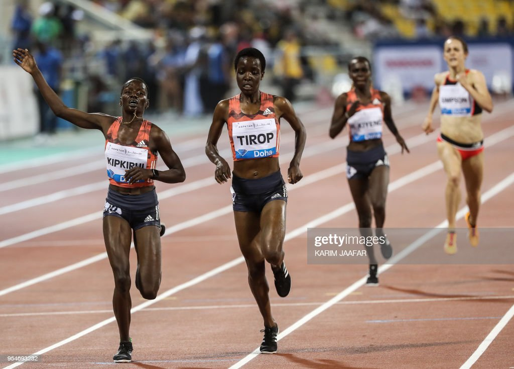 Caroline Chepkoech Kipkirui (1st-L) and Agnes Jebet Tirop (2nd-L) of Kenya compete in the women's 3000 metres race during the Diamond League athletics competition at the Suhaim bin Hamad Stadium in Doha, on May 4, 2018.
