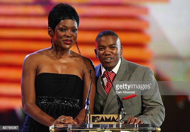 Caroline Chikezie and Loyiso speak on stage at the MTV Africa Music Awards 2008 at the Abuja Velodrome on November 22, 2008 in Abuja, Nigeria.