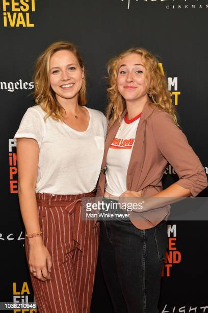 Caroline Clark and Katherine Dudas attend the 2018 LA Film Festival screening of Behind The Curve at ArcLight Hollywood on September 22 2018 in...