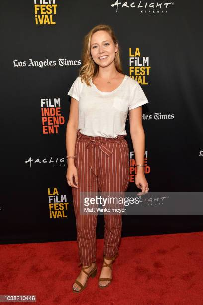 Caroline Clark attends the 2018 LA Film Festival screening of Behind The Curve at ArcLight Hollywood on September 22 2018 in Hollywood California