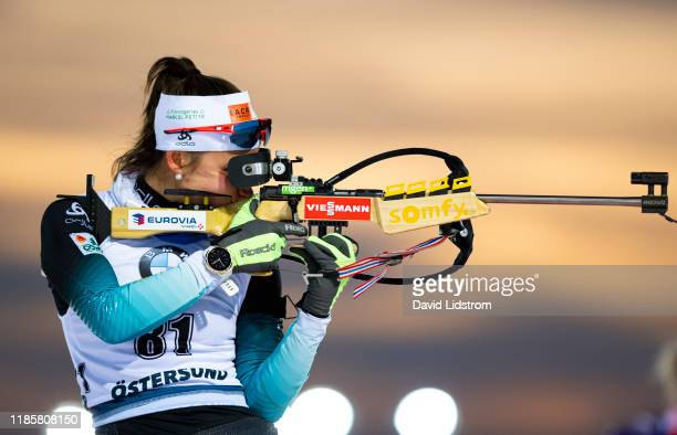 Caroline Colombo of France competes during the Womens 7.5 km Sprint Competition at the BMW IBU World Cup Biathlon Oestersund at Swedish National...