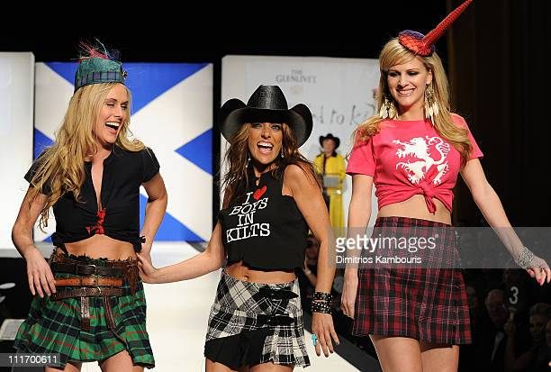 Caroline Cutbirth Tayla Lynn and Jennifer Wayne of Stealing Angels walk the runway at the 9th Annual Dressed To Kilt charity fashion show at...