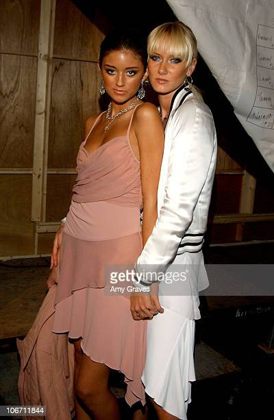 Caroline D'Amore and Kimberly Stewart during 2003 Smashbox Fashion Week Los Angeles Sherri Bodell Spring Collection 2004 Backstage at Smashbox in...