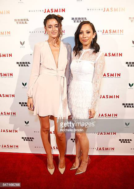 DJ Caroline D'Amore and TV personality Cheryl Burke attend Meeting JASMIN Fine Art Exhibition at Ace Gallery on July 14 2016 in Los Angeles California