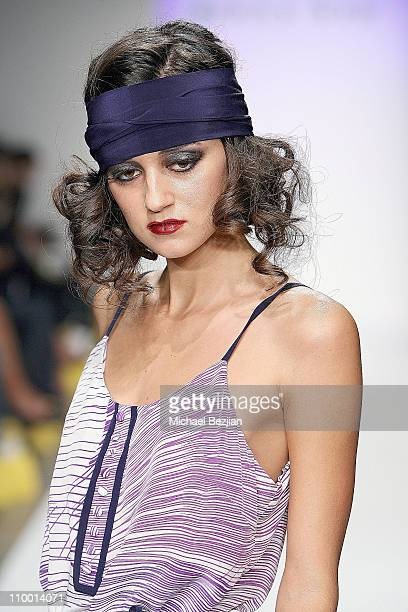 Caroline D'Amore on the runway at the Jenny Han Spring 2008 fashion show during the Mercedes Benz Fashion Week at Smashbox Studios on October 16 2007...