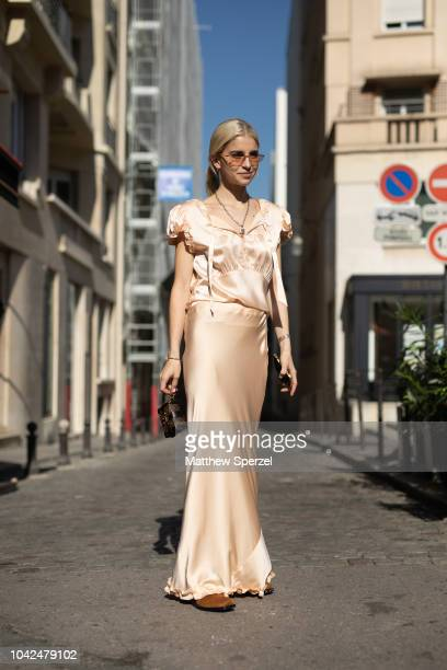 Caroline Dauer is seen on the street during Paris Fashion Week SS19 wearing Y/Project on September 27 2018 in Paris France
