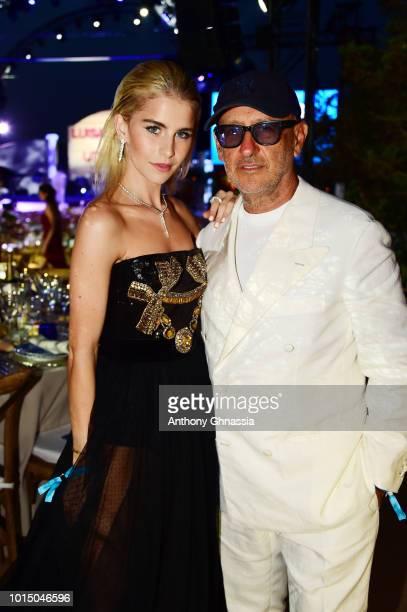 Caroline Daur and Andrea Panconesi attend the Unicef Summer Gala Presented by Luisaviaroma dinner at Villa Violina on August 10 2018 in Porto Cervo...