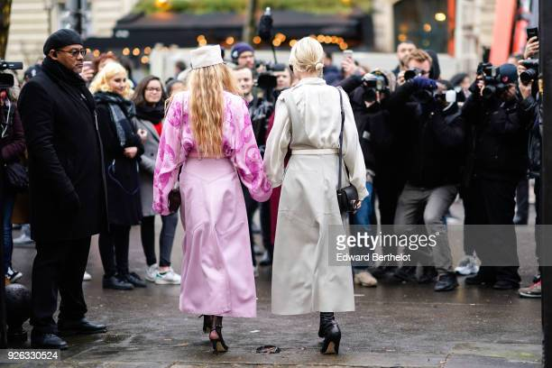 Caroline Daur and Emili Sindlev after the Nina Ricci show as part of the Paris Fashion Week Womenswear Fall/Winter 2018/2019 on March 2 2018 in Paris...