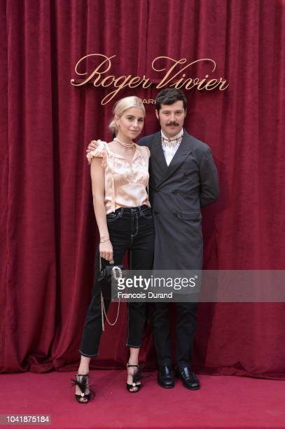 Caroline Daur and Gherardo Felloni attend the Roger Vivier Presentation Spring/Summer 2019 during Paris Fashion Week on September 27 2018 in Paris...