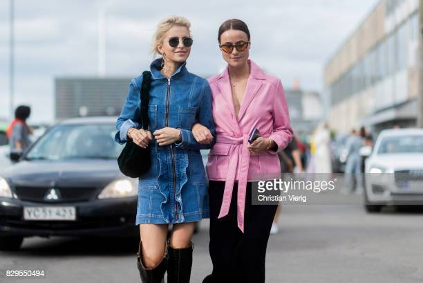 Caroline Daur and Lena Lademann outside Ganni on August 10 2017 in Copenhagen Denmark