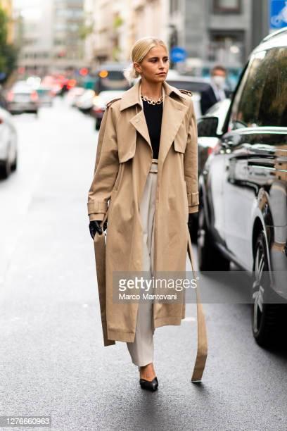 Caroline Daur attends Boss fashion show during the Milan Women's Fashion Week on September 25, 2020 in Milan, Italy.